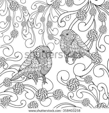 Coloring Page Hummingbird Zentangle Flying Bird Stock