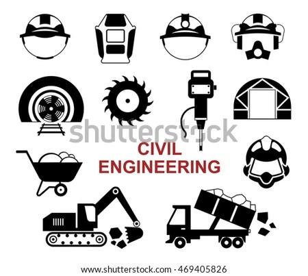 Set Black Vector Tools Civil Engineering Stock Vector