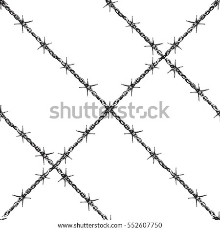 Alphabet Barbed Wire Font Letters V Stock Vector 116853925