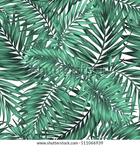 Seamless Tropical Jungle Palm Leaves Pattern Stock Vector