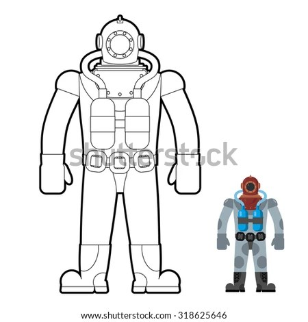 Old Wetsuit Coloring Book Diver Suit Stock Vector