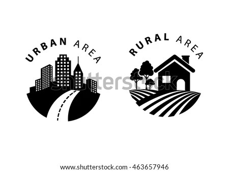 Rural Urban Flat Icon Stock Vector (Royalty Free