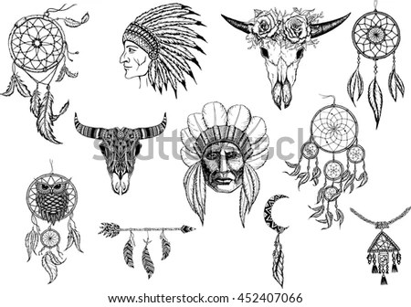 Hand Drawn Tribal Set Arrows Feathers Stock Vector