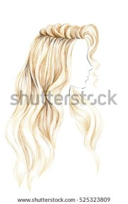 sketch female hairstyle freehand