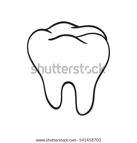 Handdrawn Black Lines Sketch Molar Tooth Stock Vector