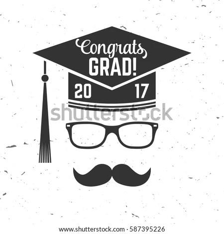 Vector Congratulations Graduates Class 2017 Badge Stock