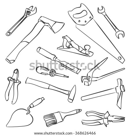 Vector Work Tools Stock Illustration Coloring Stock Vector