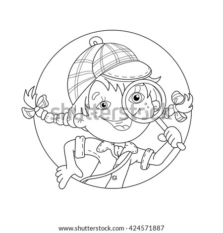 Forensic Science Magnifying Glass Sketch Coloring Page