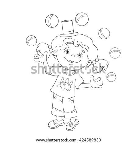 Graphic Drawing Little Girl Summer Dress Stock Vector