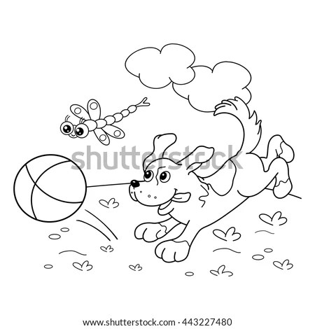 Coloring Page Outline Cartoon Dog Ball Stock Vector