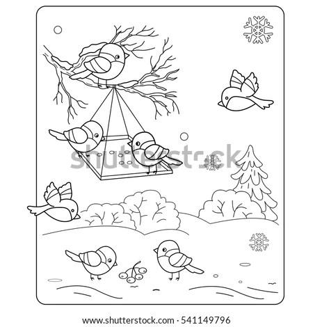 Coloring Page Outline Cartoon Birds Winter Stock Vector