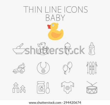 Baby thin line vector icon set for web and mobile