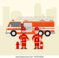 Fireman Firefighter Uniform Water Hose Fire Stock Vector ...