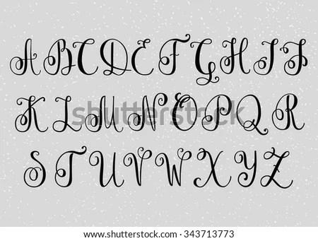 Handwritten Brush Flourish Font Capital Letters Stock