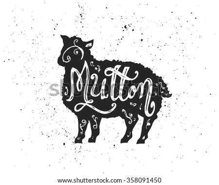 Graphic Pig Pork Label Drawn By Stock Vector 393380026
