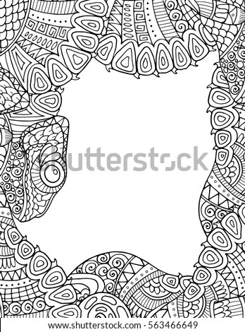 Zentangle Adult Coloring Book Style Border Stock Vector