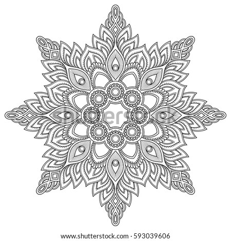 Vector Henna Tatoo Mandala Mehndi Style Stock Vector