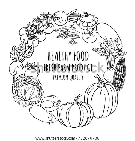 Harvest Vegetables Basket Hand Drawn Vector Stock Vector