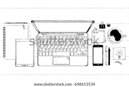 Laptop Sketch Eps10 Vector Stock Vector 148146029