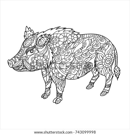 Boar Chinese Zodiac Collection Decorative Outline Stock