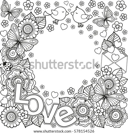 Love You Abstract Coloring Book Adult Stock Illustration