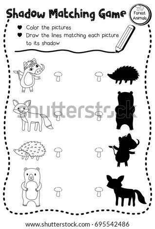 Shadow Matching Game Forest Animals Preschool Stock Vector