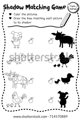 Shadow Matching Game Farm Animals Preschool Stock Vector