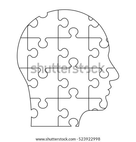 Vector Puzzles Human Profile Connection Lines Stock Vector