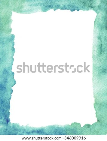 Colorful Hand Painted Blue Watercolor Frame Stock