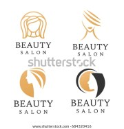 beauty salon logo set hair