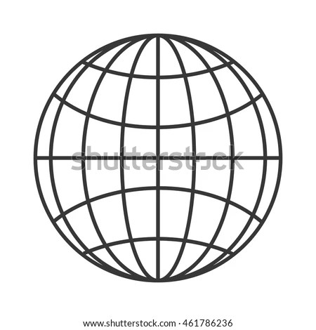Flat Design Earth Globe Diagram Icon Stock Vector