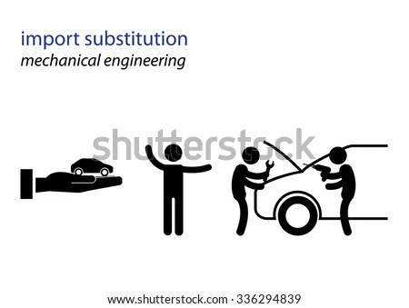Vector Black White Illustration Import Substitution Stock