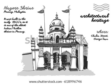 George Town Malaysia Unique Hand Drawn Stock Vector