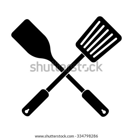 Crossed Spatula Slotted Kitchen Spoon Vector Stock Vector