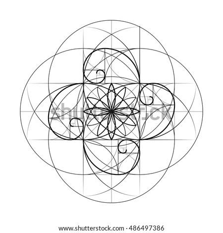 Golden Section Sacred Geometry Vector Symbol Stock Vector