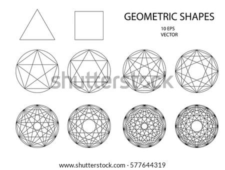 Sacred Geometry Set Geometric Shapes Trendy Stock Vector
