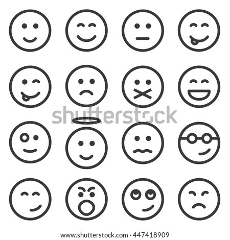 Set Outline Emoticons Emoji Isolated On Stock Vector