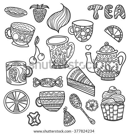 Tea Cups Teapots Seamless Doodle Pattern Stock Vector