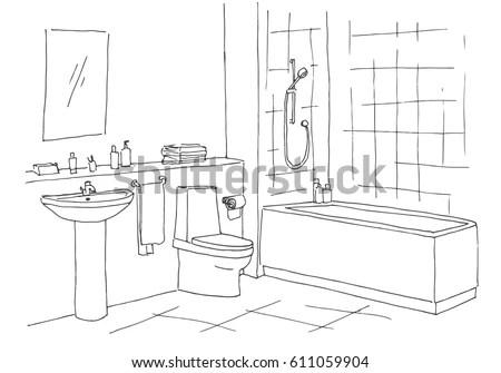 Hand Drawn Sketch Linear Sketch Interior Stock Vector