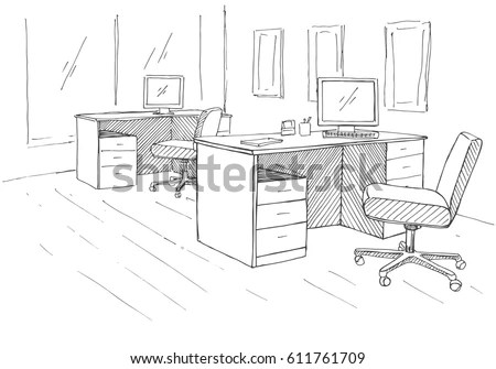 Open Space Office Workplaces Outdoors Tables Stock Vector