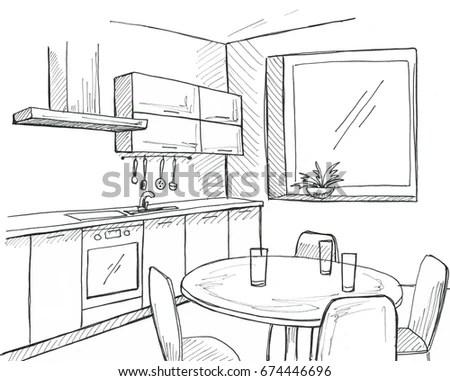 Hand Drawn Kitchen Window Sketch Pen Stock Illustration