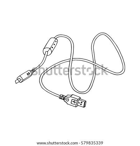 USB Cable Sketch Vector Illustration Stock Vector