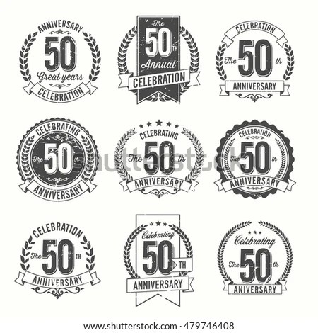Set Vintage Anniversary Badges 60th Year Stock Vector