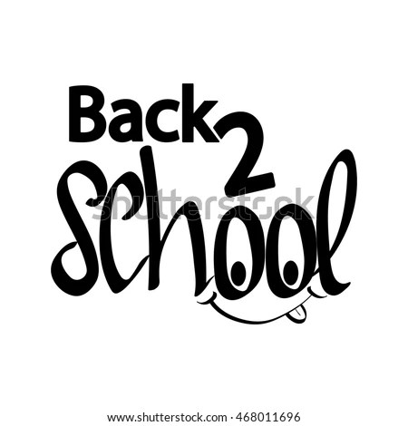Back 2 School Calligraphy Phrase Back Stock Vector