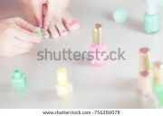 painted toenails stock