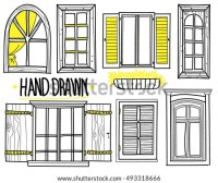 Awindow Set Drawings By Hand Shuttered Stock Vector ...