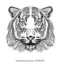 Head Tiger Meditation Coloring Mandala Head Stock Vector ...
