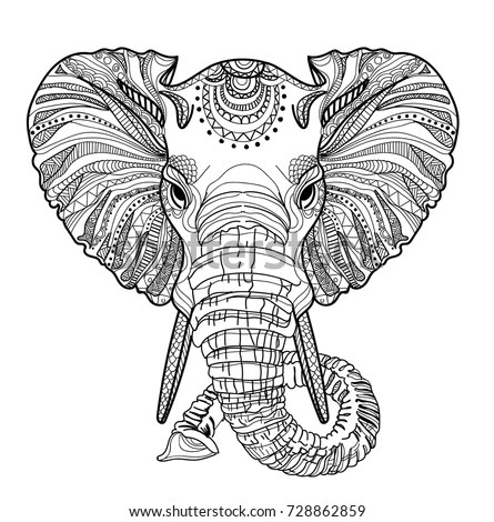 Head Elephant Meditation Coloring Mandala Large Stock