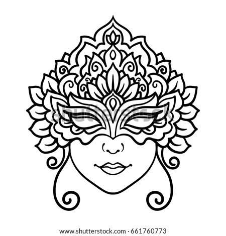 Vector Outline Illustration Mask Carnival Masquerade Stock