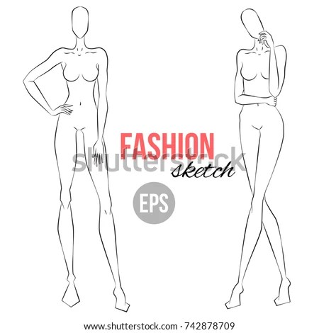 Womens Figure Sketch Different Poses Template Stock Vector